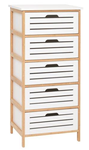 byrå vit jysk ~ byrå 5 lådor broby bambuvit  jysk