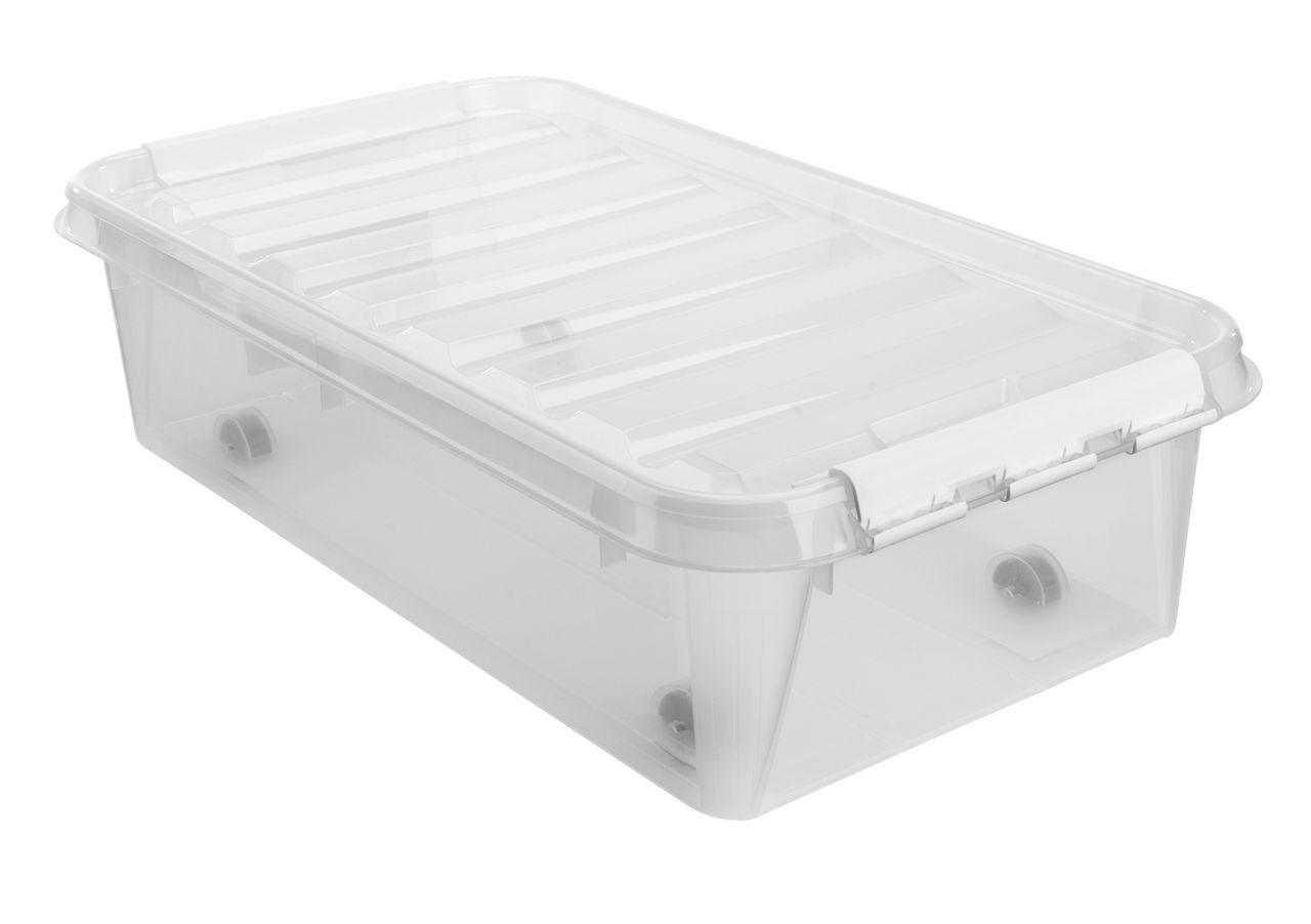 plast opbevaringsboks med låg
