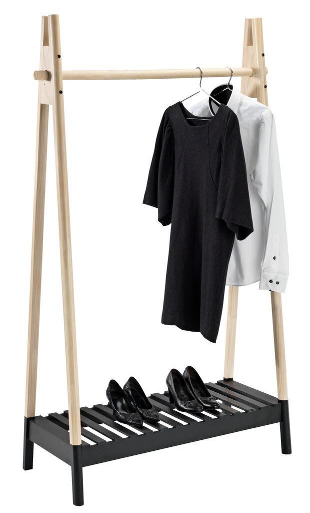 Kledingrek jennet naturel zwart jysk for Garderobe querstange