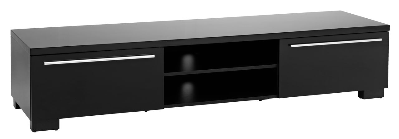 TV bänk AAKIRKEBY 2 lådor svart högglans