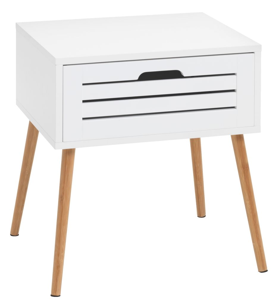 Bedside Table BROBY 2 Draw Bamboo White
