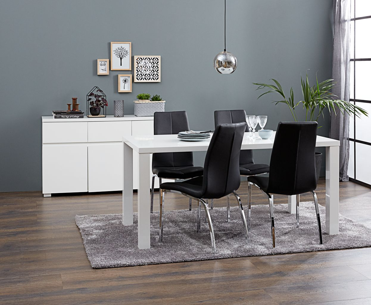 Eetkamer Wit Hoogglans : Eettafel omme 90x160 wit hoogglans jysk