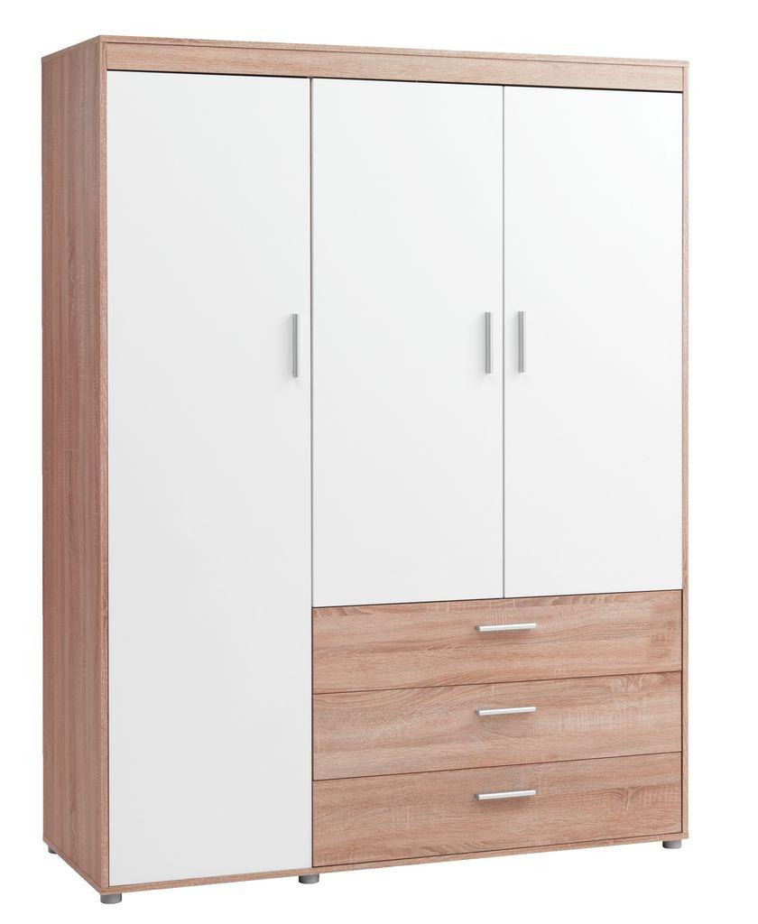 Garderob garderobsdörrar 60 cm : Garderob SLAGELSE 3 dörrar ek/vit | JYSK