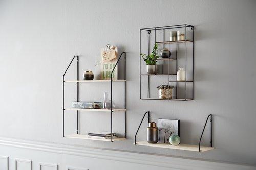Wall shelf HEJLSMINDE low black/natural