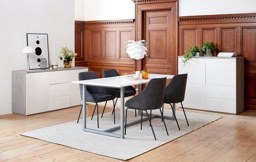 Spisebord ESBJERG 90x180 hvid/sølv