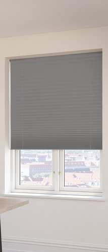 Plisségardin FYN 140x160 lysdemp grå