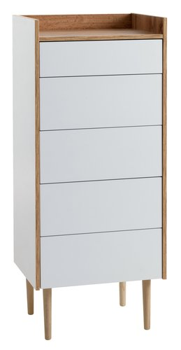 5 drawer chest AARUP white/oak