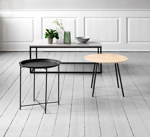 Hörnbord TERP Ø55 ek/svart