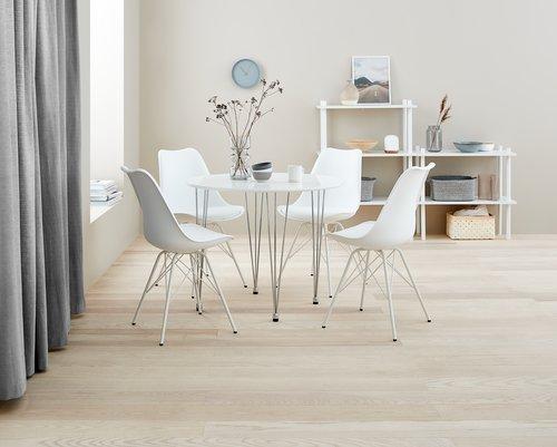 Stół BANNERUP Ś90 biały/chrom