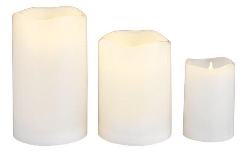 Stumpenkerze SOREN Ø8xH10cm weiß m/LED