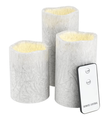 Sviečka LAVA biela LED 3ks/bal.