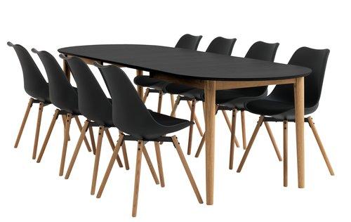 Miza EGENS D190/270 + 4 stoli KASTRUP