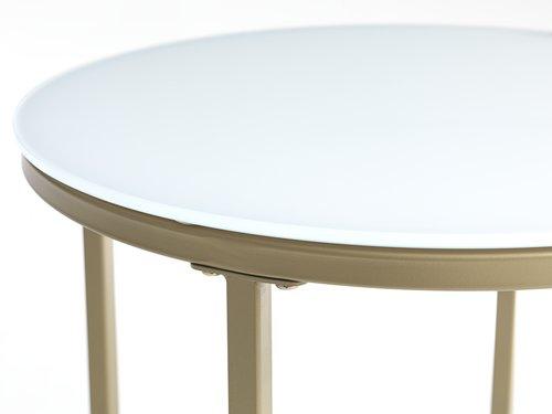 Hjørnebord GADEVANG Ø45 hvid/guld