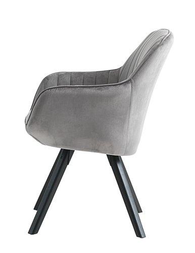 Lænestol ONSEVIG velour grå/sort
