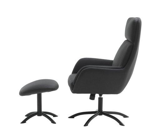 Fotel z podnóżkiem TANKEFULD c-szary