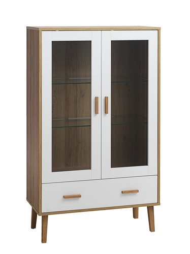 Display cabinet GAMMELGAB 1 draw oak/wh.