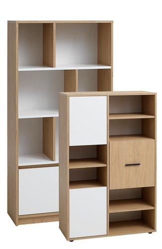 Bibliotecă BILLUND albă/stejar