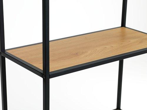 Etagère TRAPPEDAL 2 tiroirs chêne/noir