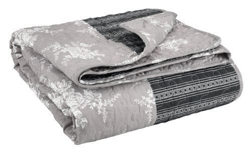 Quilted blanket KORNBLOMST 140x200 grey