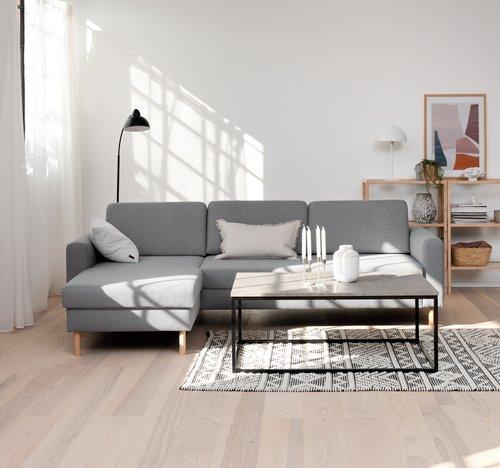 Sofa SVALBARD chaiselong lysegrå