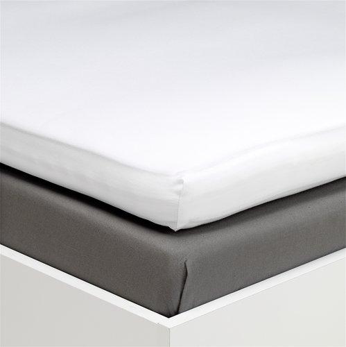 hoeslaken topper 140x200 satijn wit kr jysk. Black Bedroom Furniture Sets. Home Design Ideas