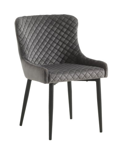 Matstol PEBRINGE sammet grå/svart