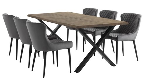 Scaun dining PEBRINGE catifea gri/negru