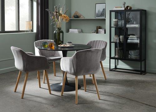 Ruokapöydän tuoli ADSLEV sametti harmaa