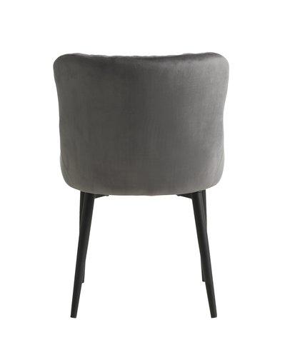 Stoel PEBRINGE velvet grijs/zwart