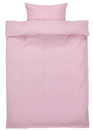 Sengesett AMY krepp lyserød/hvit