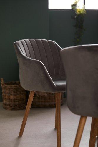 Cadeira jantar ADSLEV cinzento veludo