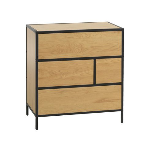 4 drw chest TRAPPEDAL oak/black