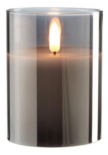 Lumânare groasă KLAUS 8x10cm gri cu LED