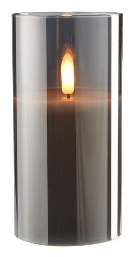 Vela pilar KLAUS Ø8xA15cm gris c/LED