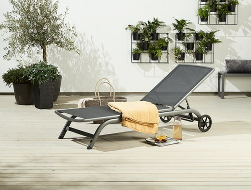 Sunlounger HANSTHOLM W63xL200 black