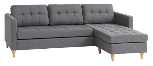 Sofa LOMBORG Recamiere grau