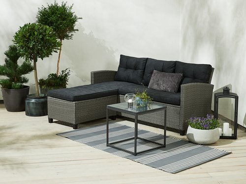 Lounge sofa MORA w/chaise 3 pers. grey