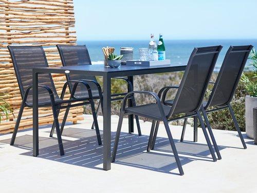 Nakladljiv stol LEKNES črna