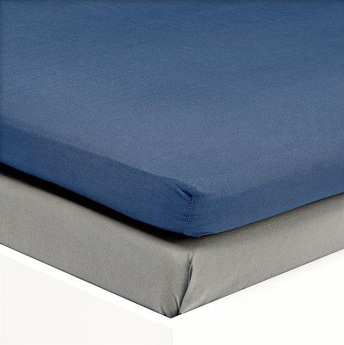 Hoeslaken topper 180x200 satijn blauw KR