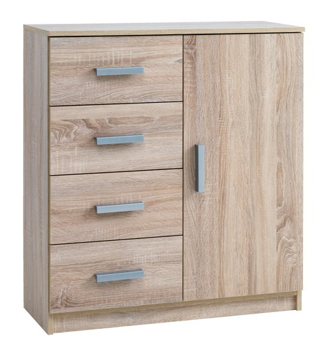 4 drw 1 dr chest KABDRUP oak
