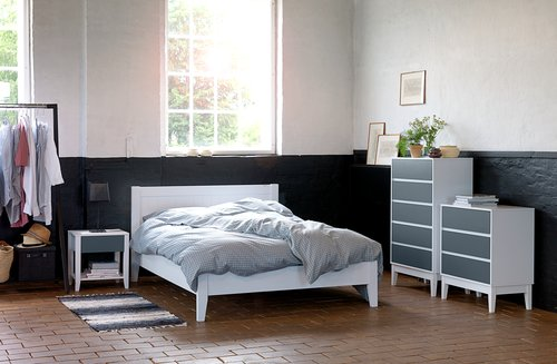 Bed frame NORDBY SKNG white