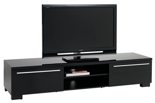 Stolik TV AAKIRKEBY czarny wysoki połysk