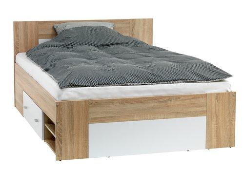 Bed frame FAVRBO DBL oak/white