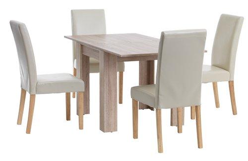 Miza HALLUND D80/160 + 4 stoli TUREBY