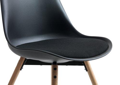 Blagovaonska stolica KASTRUP crna/hrast