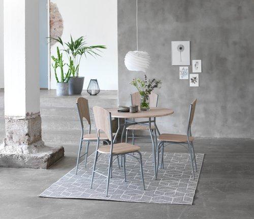 Stôl Ø90 cm + 4 stoličky THYHOLM dub