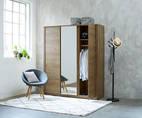 Wardrobe VEDDE 166x197 w/mirror oak