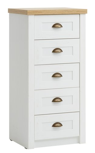 5 drw chest MARKSKEL white/oak