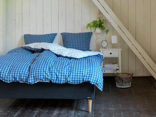 Påslakanset KARIN SGL vit/blå