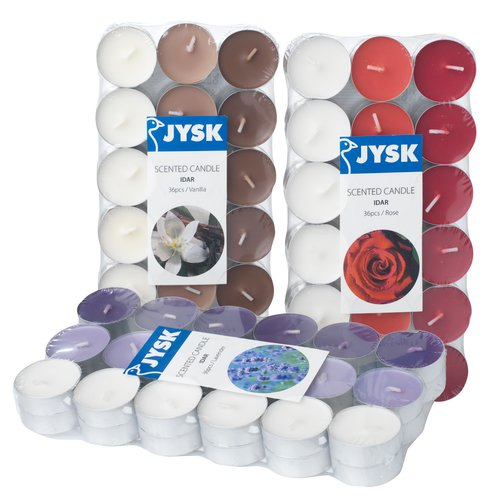 Tealights IDAR w/scent 36pcs/pk ass.